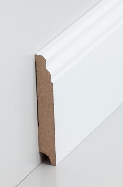 Hamburgerleiste Weiß 16 x 100 mm Sockelleiste, MDF-Kern mit lackierfähiger Folie ummantelt