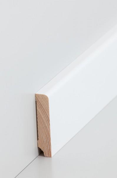 Massivholz Holzsockelleiste, Oberkante abgerundet 1,3x60mm Kiefer deckend weiß (RAL 9016) lackiert