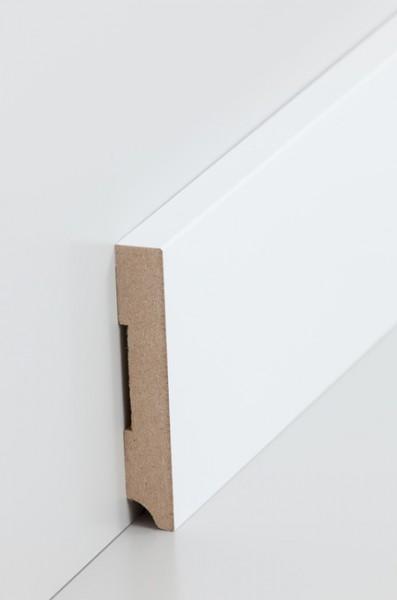 Sockelleiste, Oberkante rechteckig, MDF-Kern mit lackierfähiger Folie ummantelt, 1,3 x 80 mm, Länge