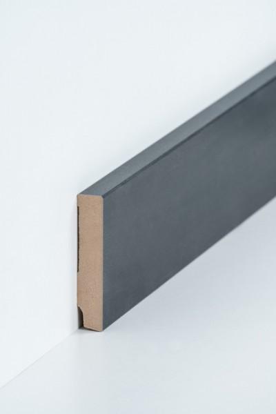 Sockelleiste 16 x 80 mm Stahl, Oberkante rechteckig, MDF-Kern mit Metallicfolie ummantelt