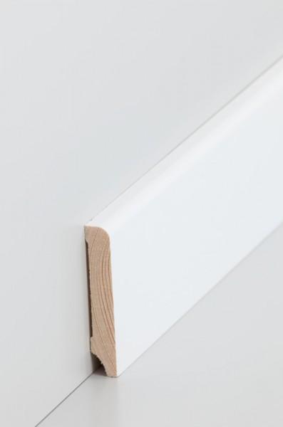 Massivholz Holzsockelleiste, Oberkante abgerundet 10x60mm Kiefer deckend weiß (RAL 9016) lackiert