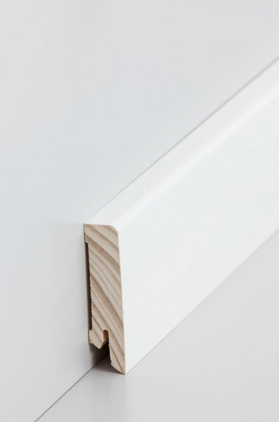 Holzsockelleiste, 16x60mm Holzkern mit Echtholz Furnier deckend weiß lackiert