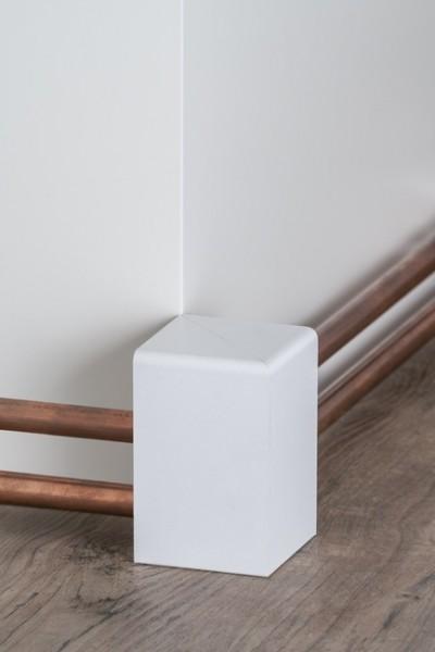 Rohrabdeckleiste außenecke 64 x 96 mm, Innenmaß: 45 x 88 mm, weiß Oberkante abgerundet