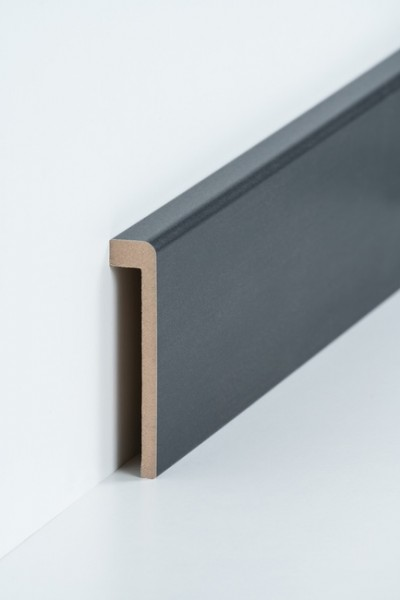 Abdeckleiste Stahl dunkel Fliesensockel, 19 x 96 mm (1,3 x 85 mm), MDF-Kern Metallicfolie ummantelt