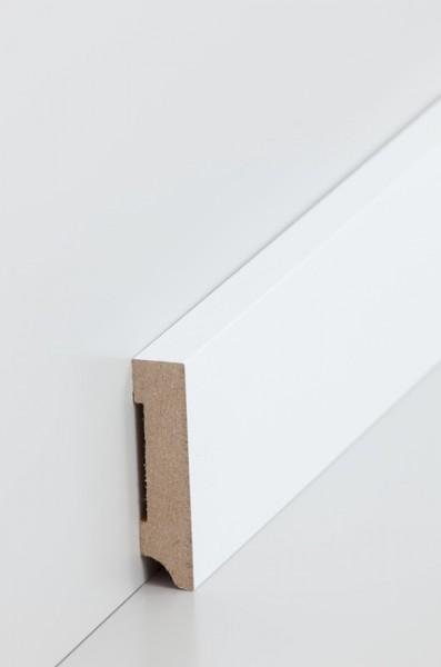 Sockelleiste, Oberkante rechteckig, MDF-Kern mit lackierfähiger Folie ummantelt, 1,3 x 58 mm, Länge