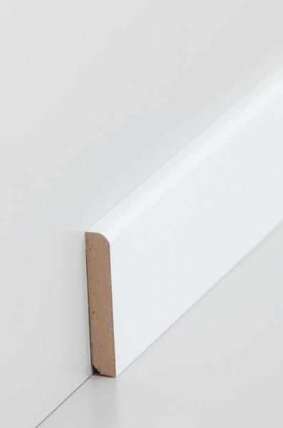 Sockelleiste, Oberkante abgerundet, MDF-Kern mit lackierfähiger Folie ummantelt 10 x 58 mm, Länge:
