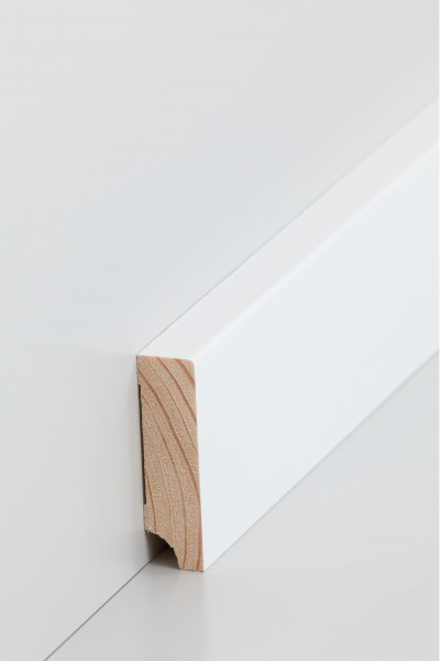 Holzsockelleiste, Oberkante rechteckig 16x70mm Kiefer deckend weiß (RAL 9016) lackiert