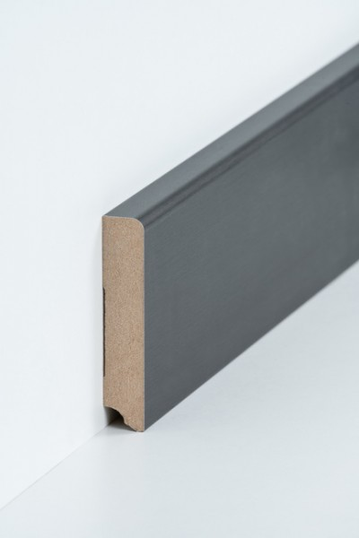Sockelleiste 19 x 96 mm Titan, Oberkante abgerundet, MDF-Kern mit Metallicfolie ummantelt