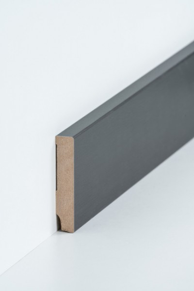 Sockelleiste 16 x 80 mm Titan, Oberkante rechteckig, MDF-Kern mit Metallicfolie ummantelt