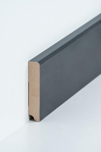 Sockelleiste 19 x 96 mm Stahl, Oberkante abgerundet, MDF-Kern mit Metallicfolie ummantelt