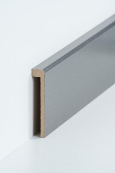Abdeckleiste Edelstahl Fliesensockel, 19 x 96 mm (1,3 x 85 mm), MDF-Kern Metallicfolie ummantelt