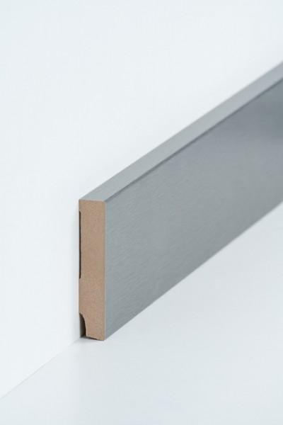 Sockelleiste 16 x 80 mm Edel Stahl Oberkante rechteckig, MDF-Kern mit Metallicfolie ummantelt