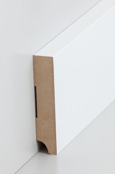 Sockelleiste, Oberkante rechteckig, MDF-Kern mit lackierfähiger Folie ummantelt, 19 x 96 mm, Länge: