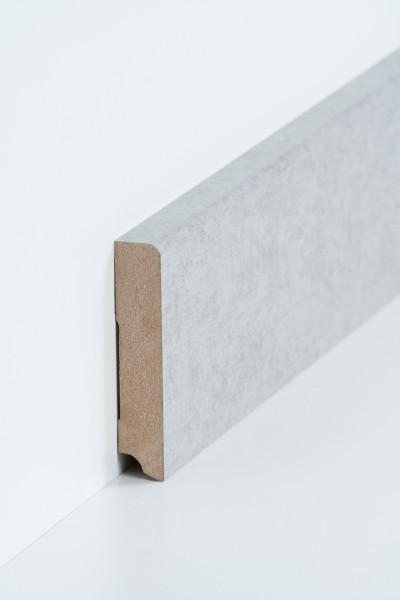 Sockelleiste 19 x 96 mm Beton, Oberkante abgerundet, MDF-Kern mit Dekorfolie ummantelt