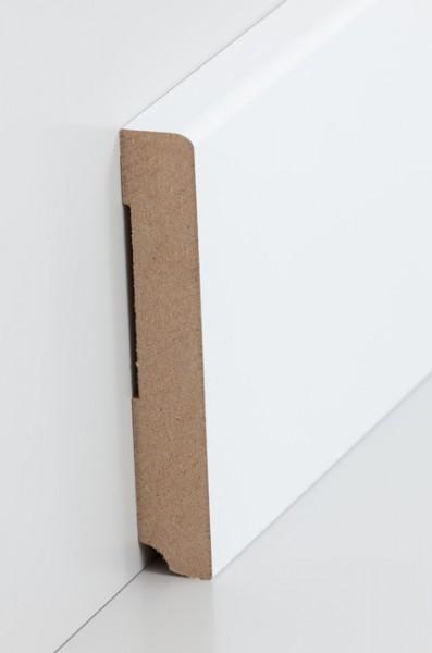 Sockelleiste, Oberkante abgerundet, MDF-Kern mit lackierfähiger Folie ummantelt, 19 x 115 mm, Länge
