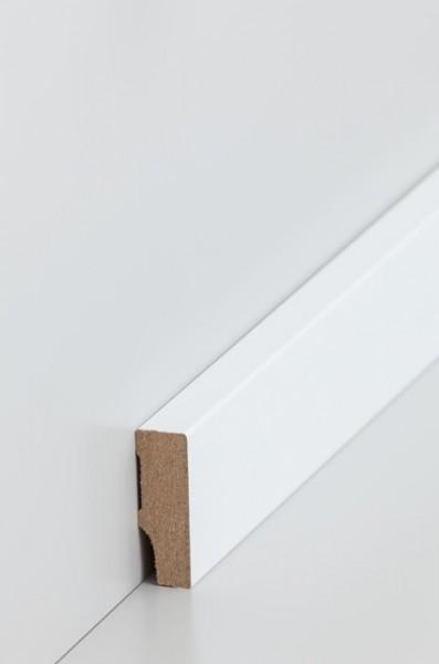 Sockelleiste, Oberkante rechteckig, MDF-Kern mit lackierfähiger Folie ummantelt, 1,3 x 40 mm, Länge