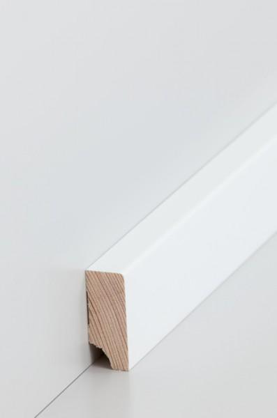 Holzsockelleiste, Oberkante rechteckig 16x40mm Kiefer deckend weiß (RAL 9016) lackiert