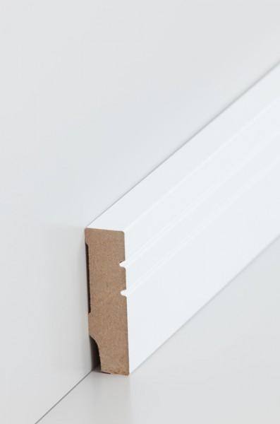 Sockelleiste, Oberkante rechteckig, sichtseite mit 2 profilnuten, MDF-Kern mit lackierfähiger Folie