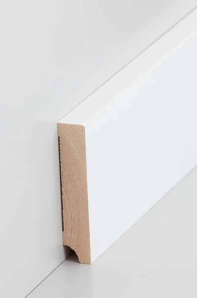 Holzsockelleiste, Oberkante rechteckig 16x80mm Kiefer deckend weiß (RAL 9016) lackiert