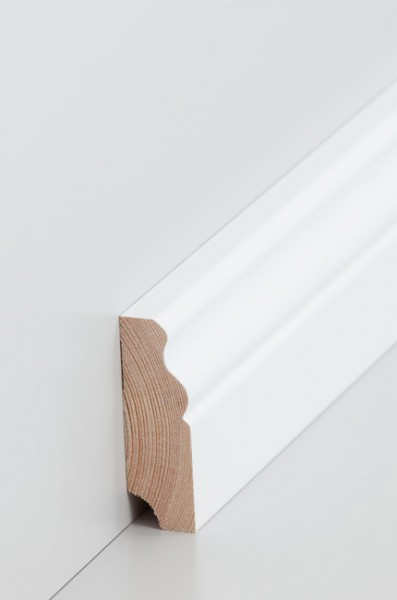 Hamburgerleiste Massivholz 19x60mm deckend weiß (RAL 9016) lackiert