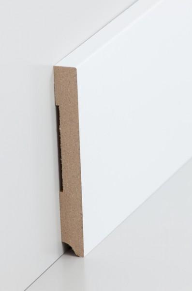 Sockelleiste, Oberkante rechteckig, MDF-Kern mit lackierfähiger Folie ummantelt, 1,3 x 110 mm, Läng