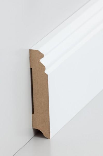 Hamburgerleiste Weiß 19 x 96 mm Sockelleiste, MDF-Kern mit lackierfähiger Folie ummantelt
