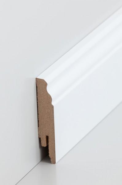 Hamburgerleiste Weiß 16 x 78 mm Sockelleiste, MDF-Kern mit lackierfähiger Folie ummantelt