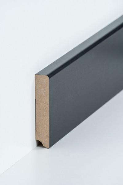 Sockelleiste 19 x 96 mm Schwaz, Oberkante abgerundet, MDF-Kern mit Dekorfolie ummantelt