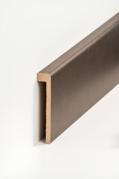 Abdeckleiste Bronze Fliesensockel, 19 x 96 mm (1,3 x 85 mm), MDF-Kern mit Metallicfolie ummantelt
