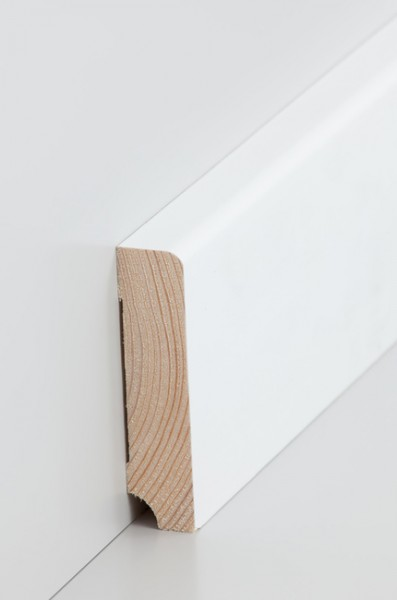 Massivholz Holzsockelleiste, Oberkante abgerundet 19x80mm Kiefer deckend weiß (RAL 9016) lackiert