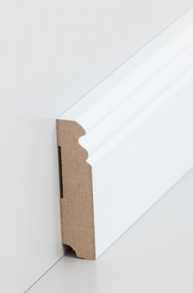 Hamburgerleiste Weiß 19 x 80 mm Sockelleiste, MDF-Kern mit lackierfähiger Folie ummantelt