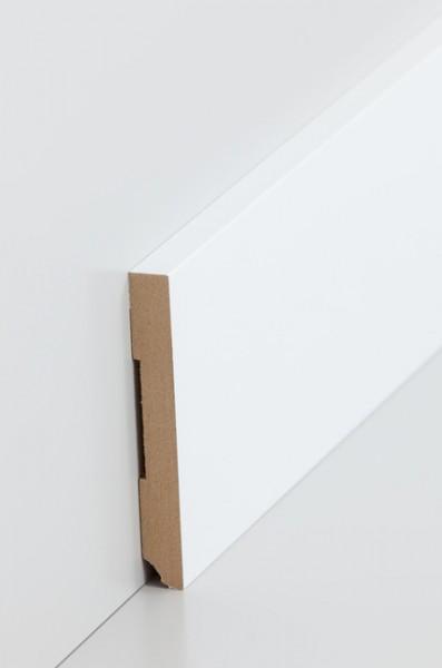 Sockelleiste, Oberkante rechteckig, MDF-Kern mit lackierfähiger Folie ummantelt, 10 x 80 mm, Länge: