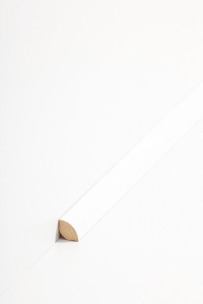 Viertelstab Fussleiste aus Massivholz, deckend weiß lackiert in Abachi (12 x 12 mm) 12.31