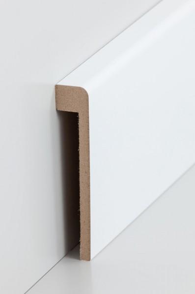Abdeckleiste Weiß 19 x 96 mm Fliesensockel, Innenmaß: 1,3 x 80 mm MDF lackierfähiger Folie ummantelt