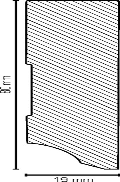 Sockelleiste, Oberkante rechteckig, MDF-Kern mit lackierfähiger Folie ummantelt, 19 x 80 mm, Länge: